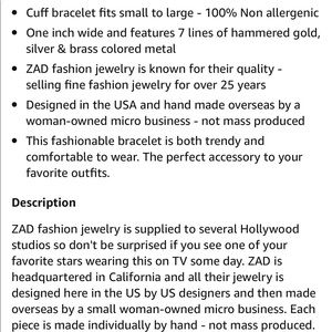 ZAD Jewelry - Hammered Mixed Metal Cuff Bracelet